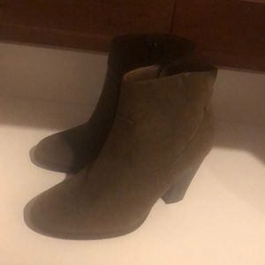 Olive/brown booties size 7 in great condition